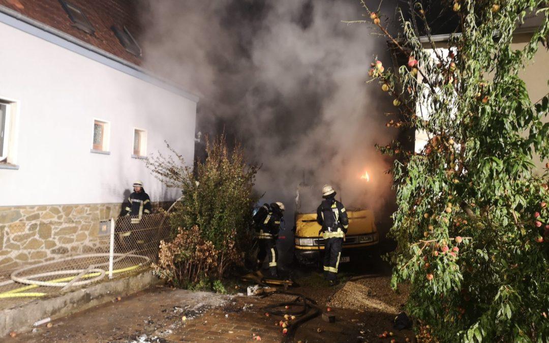 Wohnmobil brennt in Hermannstein aus